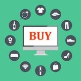 Plana designillustrationsymboler av e-kommers symboler, internetshoppingbeståndsdelar och objekt i retro stilfull färg stock illustrationer