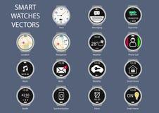 Plana designillustrationsymboler av smarta klockaklockaframsidor Royaltyfri Bild