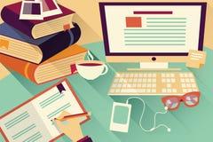 Plana designobjekt, arbetsskrivbord, kontorsskrivbord, böcker, dator Royaltyfri Fotografi
