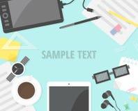 Plana designobjekt, bakgrund för kontorsskrivbord Arkivbild