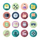 Plana designsymboler för användargränssnitt Arkivbilder