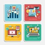 Plana designsymboler för att marknadsföra begrepp Arkivfoton