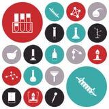 Plana designsymboler för kemilabb Royaltyfri Bild