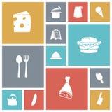 Plana designsymboler för mat Arkivbilder