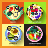 Plana designsymboler för mat och restaurang Arkivfoton