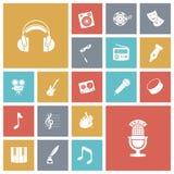 Plana designsymboler för musik och ljud Royaltyfri Bild
