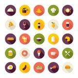 Plana designsymboler för restaurang, mat och drink Royaltyfri Foto
