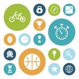 Plana designsymboler för sport och kondition Arkivbilder