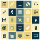 Plana designsymboler för teknologi och apparater Fotografering för Bildbyråer