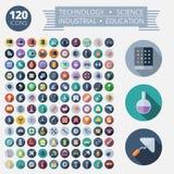Plana designsymboler för teknologi och vetenskap Arkivbilder