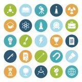Plana designsymboler för utbildning och vetenskap Arkivfoton