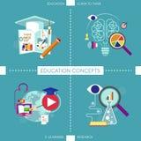 Plana designsymboler för utbildningsbegrepp Royaltyfri Foto