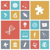 Plana designsymboler för vetenskap Arkivbilder