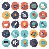 Plana designsymboler för vetenskap och utbildning Royaltyfri Fotografi