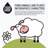 Plana designsymboler med lantgårddjuret - får Arkivfoto
