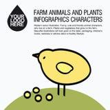 Plana designsymboler med lantgårddjuret - höna Arkivbilder