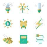 Plana enkla symboler för sparande energi royaltyfri illustrationer