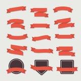 Plana färgband och emblem Arkivfoto
