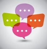 Plana färgrika dialoganförandebubblor Arkivfoton