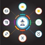 Plana för fiskar, mån- och annan för symboler vektorbeståndsdelar för utrymme, Uppsättningen av symboler för astrologilägenhetsym Royaltyfri Bild