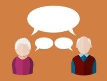 Plana folksymboler äldre man och åldringkvinna med olika anförandebubblor också vektor för coreldrawillustration stock illustrationer