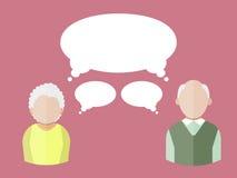 Plana folksymboler äldre man och åldringkvinna med olika tankebubblor också vektor för coreldrawillustration stock illustrationer
