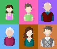 Plana folksymboler fostrar, fadern och deras son och dotter, morfadern och mormodern familj Segment av befolkning royaltyfri illustrationer