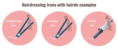 Plana friseringjärn med frisyrexempel vektor illustrationer