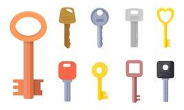 Plana illustrationer av olik typ av tangentsamlingen för husdörr, låstillträde, bil, hem, lägenhet, pengarfall, pers arkivfoto