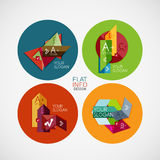 Plana infographic banerdesignbegrepp i cirkel Arkivbilder