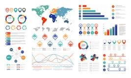 Plana infographic beståndsdelar Presentationsdiagrambeståndsdelen, procent graph banret och infographflödesdiagrammet Diagram för vektor illustrationer