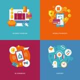Plana internetbankrörelsen, mobila betalningar, kommers, service vektor illustrationer