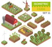 Plana isometriska för lantgård 3d beståndsdelar för konstruktör för översikt för land och stadsär Arkivbild