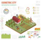 Plana isometriska för lantgård 3d beståndsdelar för konstruktör för översikt för land och stadsär Royaltyfri Bild