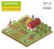 Plana isometriska för lantgård 3d beståndsdelar för konstruktör för översikt för land och stadsär Arkivbilder