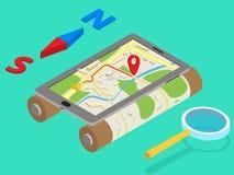 Plana isometriska mobila GPS navigeringöversikter för 3d Arkivbild
