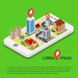 Plana isometriska mobila GPS navigeringöversikter för 3d Arkivfoton