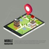 Plana isometriska mobila GPS navigeringöversikter för 3d Fotografering för Bildbyråer