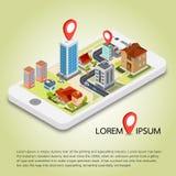 Plana isometriska mobila GPS navigeringöversikter för 3d Royaltyfria Foton