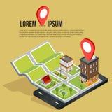 Plana isometriska mobila GPS navigeringöversikter för 3d Royaltyfri Foto