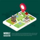 Plana isometriska mobila GPS navigeringöversikter för 3d Arkivbilder