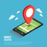 Plana isometriska mobila GPS navigeringöversikter för 3d Royaltyfria Bilder