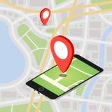 Plana isometriska mobila GPS navigeringöversikter för 3d Royaltyfri Bild