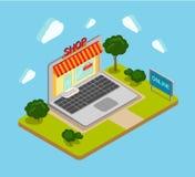 Plana isometriska online- 3d shoppar banret för shoppingrengöringsdukinfographicsen Arkivbild