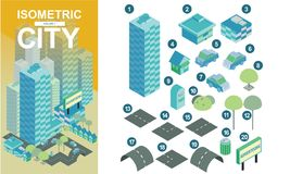Plana isometriska stadskvarter med väg- och tvärgatavektorillustrationen volume1 arkivbilder