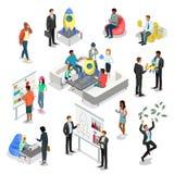 Plana isometriska startup tecken för folk 3d vektor illustrationer