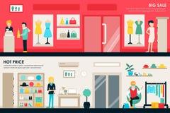 Plana köpcentrum- och boutiquerum shoppar inre begreppsrengöringsduk Köp för detaljhandel för galleria för modekläderkunder stock illustrationer
