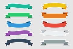 Plana klistermärkevektorband i plan färg på grå bakgrund också vektor för coreldrawillustration Arkivbilder
