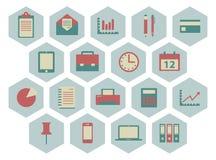 Plana kontorssymboler Fotografering för Bildbyråer