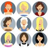 Plana kvinnors uppsättning för glamoursymbol stock illustrationer